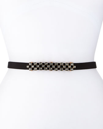 Thin Stone-Grid Silk Faille Belt, Black/Golden