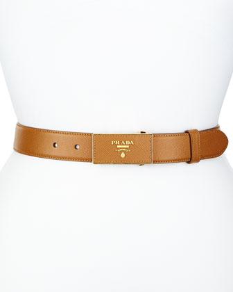 Saffiano Belt w/Rectangle Buckle, Caramel