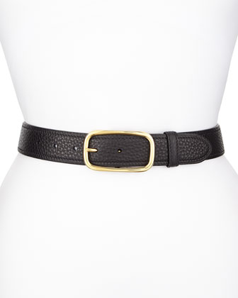 Tumbled Leather Belt, Black