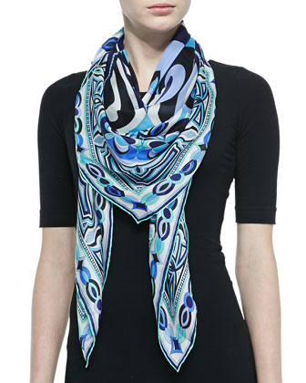 Tapestry-Pattern Scialle Scarf, Blue