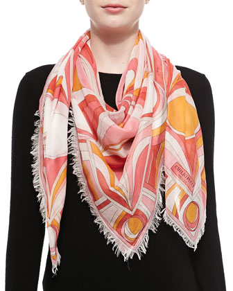 Kaleidoscope Printed Scarf, Coral