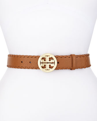 Marion Whipstitched Logo Belt, Bark