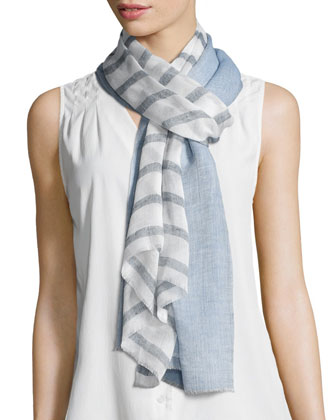 Double-Stripe Voile Scarf, Blue/White