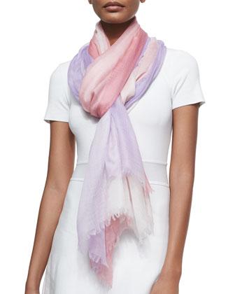 Cashmere Featherweight Dip-Dye Shawl, Pink/Purple