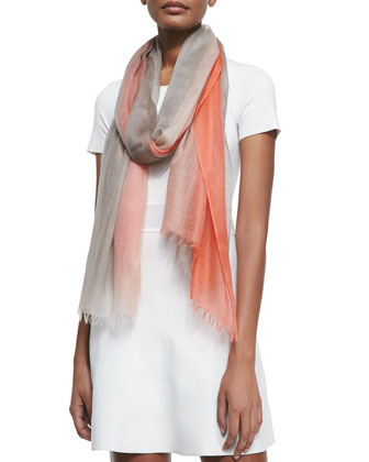 Featherweight Cashmere Dip-Dye Shawl, Orange