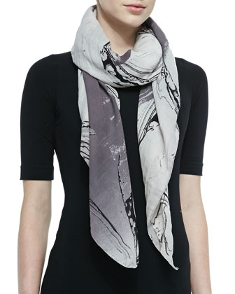 Milky Block Square Scarf, Black