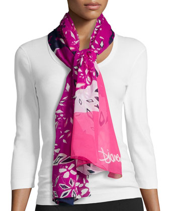 Abstract-Print Washed Chiffon Scarf, Hot Rose