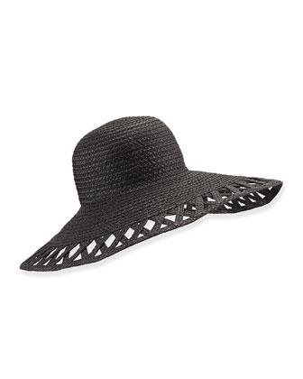 Maribel Cutout-Wide-Brim Hat, Black