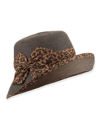 Gwyn Cloche Hat, Leopard Print