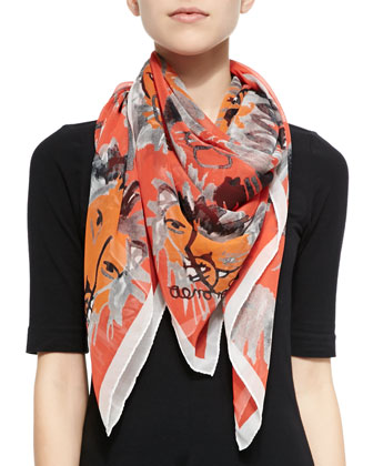 Lion-Print Silk Square Scarf