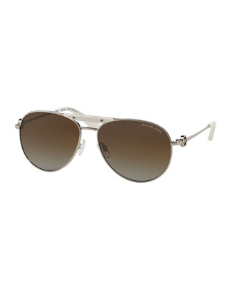 Zanzibar Polarized Aviator Sunglasses, Silver