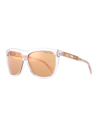 Benidorm Square Flash Sunglasses, Crystal/Rose Gold