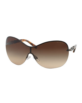 Chain Link Shield Sunglasses, Gunmetal