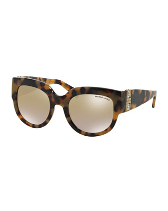 Miranda Glam Crystal Cat-Eye Sunglasses, Vintage Tortoise