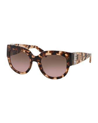 Miranda Glam Crystal Cat-Eye Sunglasses, Blush Tortoise