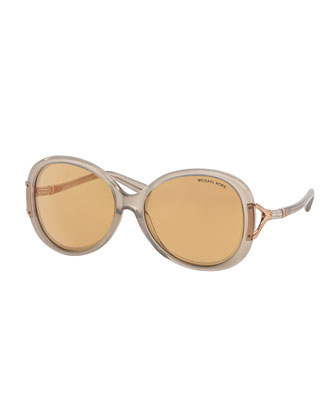 Pave-Temple Butterfly Sunglasses, Gray/White