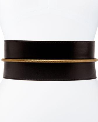 Tube-Detail Belt in Black Lambskin