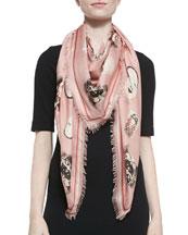 Mask-Print Square Scarf, Pink/White