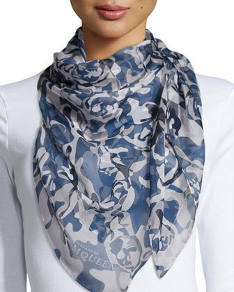 Camouflage & Skull Printed New Scarf, Blue/Red