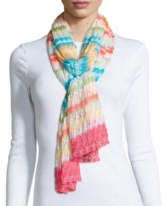 Striped Knit Zigzag Scarf, Multi