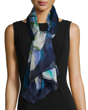 Grace-Print Silk Scarf, Blue