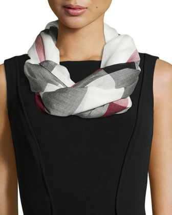 Sheer Mega Check Scarf, Ivory