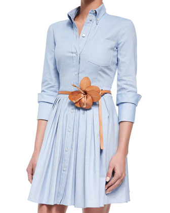 Flower-Detailed Skinny Leather Belt & Lace Dress with Leather Collar, Muslin
