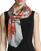 Floral-Print Mesh Silk Scarf, Temae Leaf