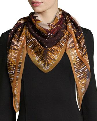 Daydream Foulard Silk Scarf, Brown/Beige