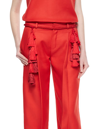 Split-Neck Wool-Blend Shell, Rope Tassel Belt & Front-Pleat Tapered Cropped ...