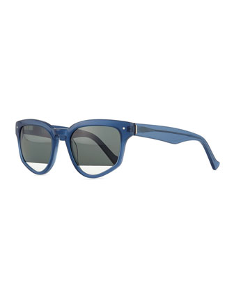 Amplifier Polarized Slanted Sunglasses, Blue