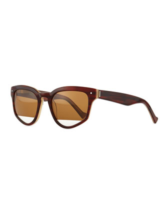 Amplifier Polarized Slanted Sunglasses, Brown