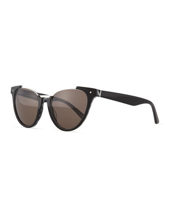 Black Pearl Open-Top Cat-Eye Sunglasses, Black