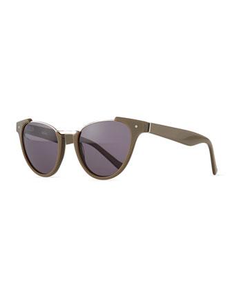 Black Pearl Open-Top Cat-Eye Sunglasses, Shark