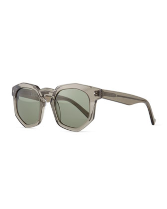 Composite Faceted Plastic Sunglasses, Gray