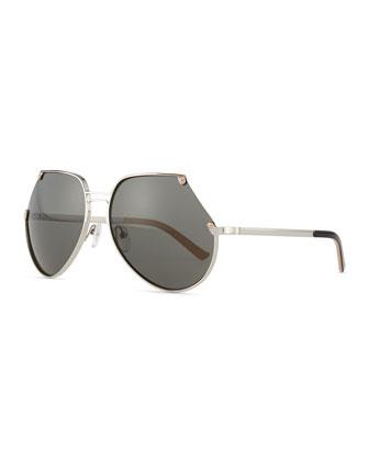 Embassy Cutoff Aviator Sunglasses, Silver/Gray