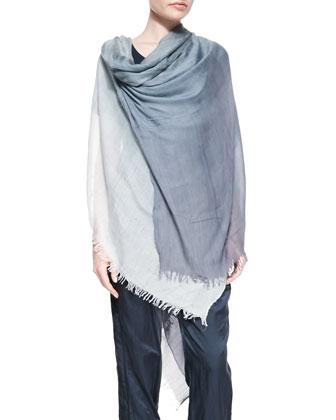 Cowl-Neck Draped Midi Dress & Ombre Fringe Scarf