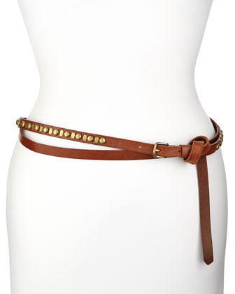Leather Double-Wrap Studded Belt, Brown