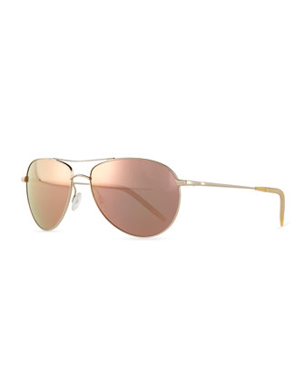 Colored Lens Aviators, Gold/Lilac