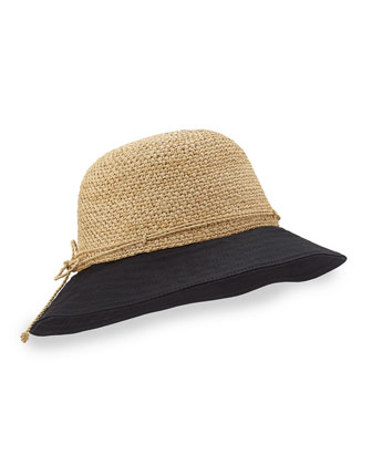 Kuya 8cm Raffia & Crochet Bucket Hat, Natural/Black