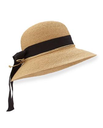 Newport Standard Raffia Hat, Natural/Black