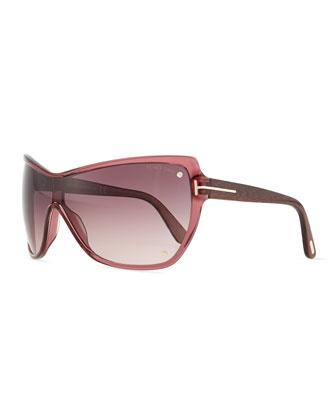 T-Temple Shield Sunglasses, Purple