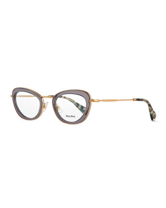 Oval Fashion Glasses, Gray