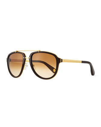 Plastic & Metal Aviator Sunglasses, Gold/Brown