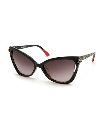 Crystal-Detail Cat-Eye Sunglasses, Black/White