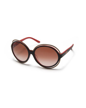 Round Two-Tone Acetate Sunglasses, Black/Red