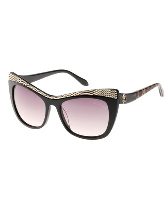 Muscida Snake-Brow Cat-Eye Sunglasses, Black/Leopard