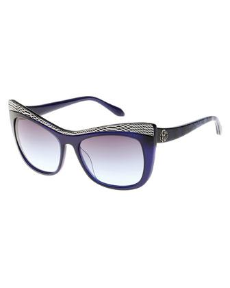 Muscida Snake-Brow Cat-Eye Sunglasses, Blue