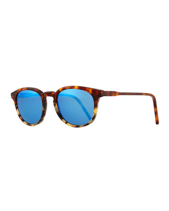 Anto Round Colorblock Mirror Sunglasses, Tortoise/Blue
