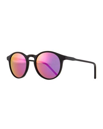 Miki Round Pantos Mirror Sunglasses, Black/Pink